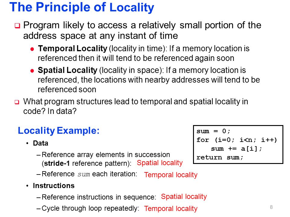 Locality Exercise 1 Question: Does this function in C have good locality int sumarrayrows(int a[M][N])